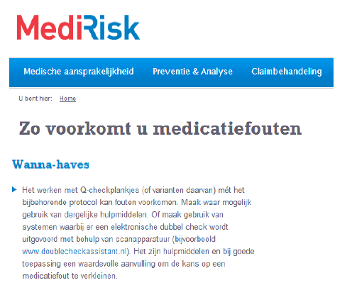 Protocol dubbelcheck medicatie
